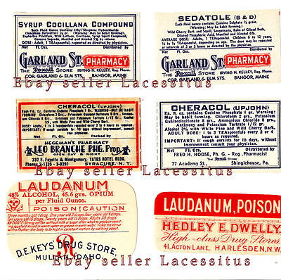 10 Different Vintage Red Poison Labels From 4 Different Old Pharmacies-Genuine