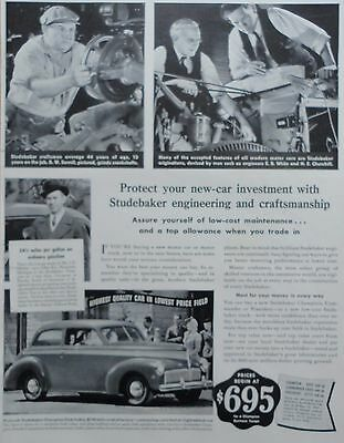 1941 ORIG PRINT AD STUDEBAKER Champion Club Sedan, protect new car investment