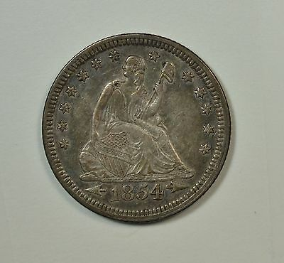 1854 Seated quarter, with Arrows, XF