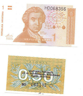 2 CROATIAN and LITHUANIAN BANKNOTES -  UNCIRCULATED/MINT CONDITION