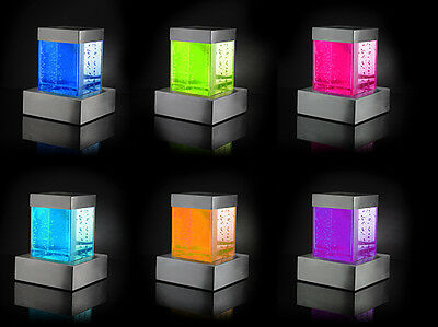 Square Tabletop Bubble Wall Water Feature Fountain Colour Changing Lights Indoor