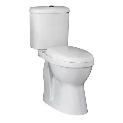 Comfort Height Toilet Raised Pan Close Coupled WC White Ceramic Soft Close Seat