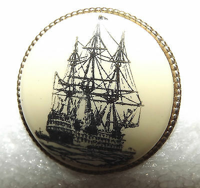 3 Masted Sailing Ship Button #4903