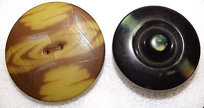2 Large Tight Top Celluloid Buttons #2435
