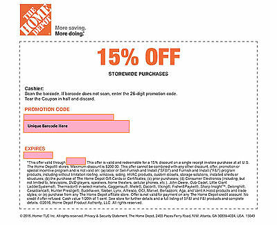 One (1) Home Depot 15% Off-Coupon Exp 12/15/16-Save Max 200$-Instore Use Only -