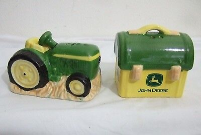 John Deere Salt And Pepper Shakers Tractor Toolbox Lunch Box Ceramic Collectible