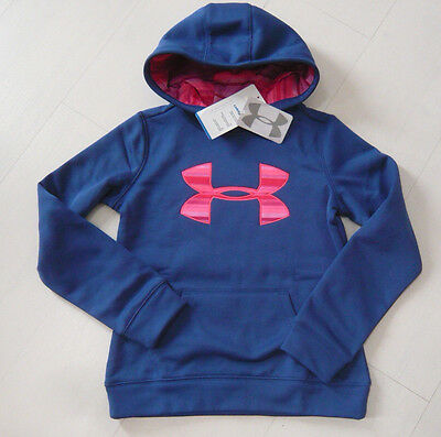 new UNDER ARMOUR GIRLS HOODIE BIG LOGO COLDGEAR blue SIZE S SMALL YOUTH