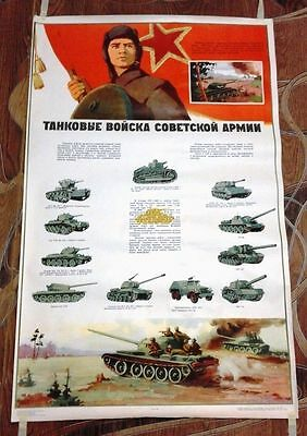 """VINTAGE Propaganda Red Army Tank troops of the Soviet army  Big Poster 24''x40"""""""