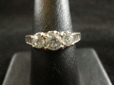 Vintage 14K White Gold Diamond Ring Size 7.5