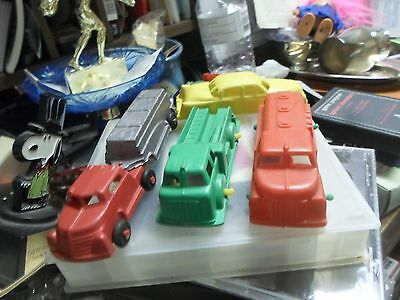 "Vintage Lot Of 4 Plastic Cars & Trucks About 3""  Lido"