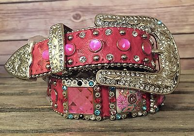 Angel Ranch Girls Pink Ostrich Print Bling Concho Western Belt A5059