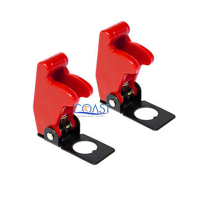 2X Car Marine Industrial Spring-Loaded Toggle Switch Safety Cover - Red