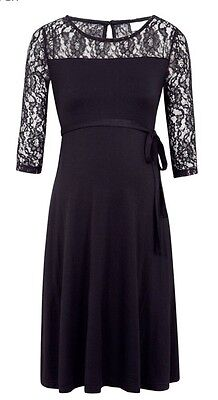 jojo maman bebe Maternity Dress 14 Black Lace Swing Bnwt