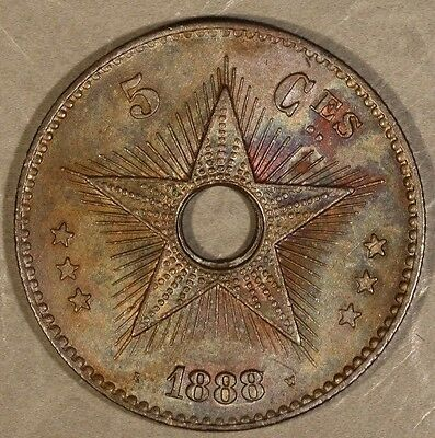 1888/7 Congo Free State 5 Centimes Overdate Nice +   ** Free U.S. Shipping **