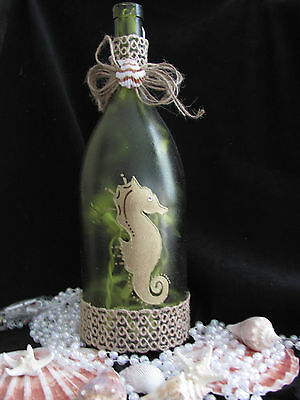 Hand Painted Wine Bottle Light - Tropical, Seahorse, Beach, Shell Theme