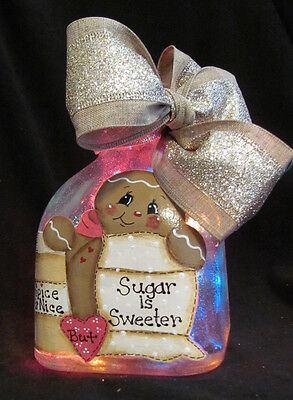 Hand Painted Gingerbread Man- Lighted Wine / Patron Bottle Light