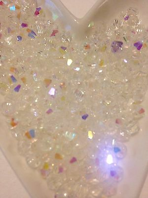 100 Austrian Crystal Glass Bicone Beads -White/Clear AB - 4mm