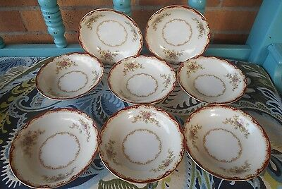"8 Monarch Convina OCCUPIED JAPAN CHINA 5 1/2"" BERRY BOWLS"