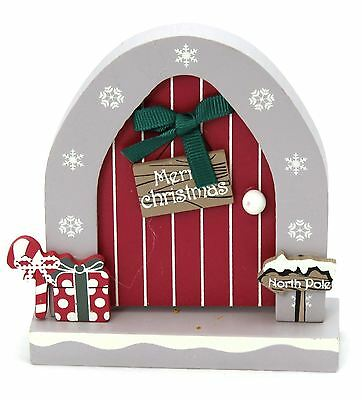 Wooden Opening Christmas Elf Elves Fairy Door Decoration ~ Merry Christmas