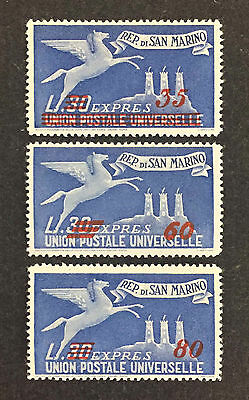 San Marino # E19-E21 Mint Singles Special Delivery Surcharged Nh F-Vf