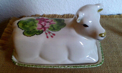 Vintage Ceramic Cow Butter Dish Signed N.S. Gustin