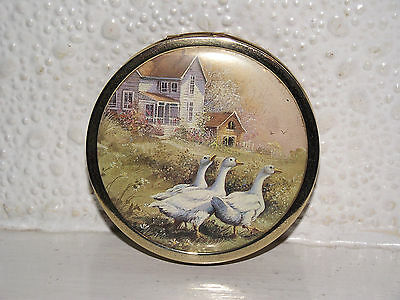 Vintage Powder Compact With Geese.beautiful.
