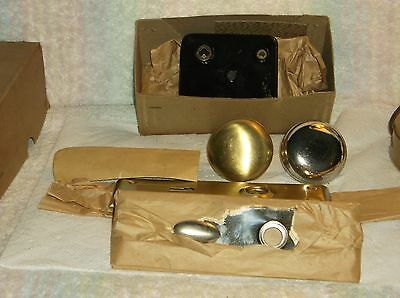 NOS Trustworthy Mortise Brass Door  Knobs & Plates with lock set and master key
