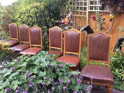 Set of six old oak leather chairs