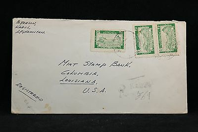 Afghanistan: 1947 Registered Cover to Mint Stamp Bank in Louisiana, USA