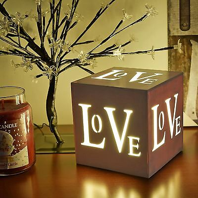 "3 Led Valentines Decoration ""love"" Light Up Box Warm White Lamp Home Gift"