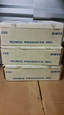 100 NUMIS Square Dime, 10 Cent Coin Tubes, 10c, New Old Stock, Free Shipping