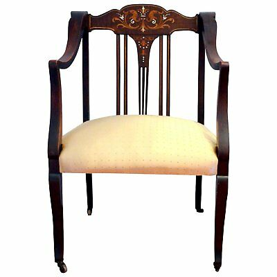 Fine 1880's Victorian  Arm Chair With Marquetry Inlay & Mother of Pearl