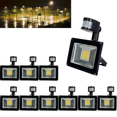 10X 30W LED PIR Motion Sensor Floodlight Warm White Outdoor Lamp Security