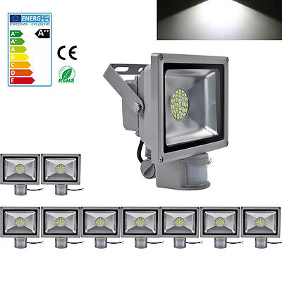 10X 30W Cool White LED PIR Motion Sensor Floodlight Outdoor Security Lamp IP65