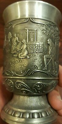 """Pewter Cup SKS Designs """"At the fountain in front of the gate"""" Country  Scene"""