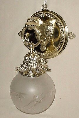 Old Bronze Brass Chiselled Bird Eagle Head Wall Sconce Frosted Crystal Cut Globe