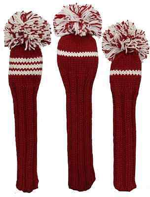 Sunfish crimson and white knit wool golf headcover set - DR, FW, HB