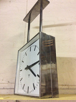 1950's double sided brushed steel Czechoslovakian factory / Station clock