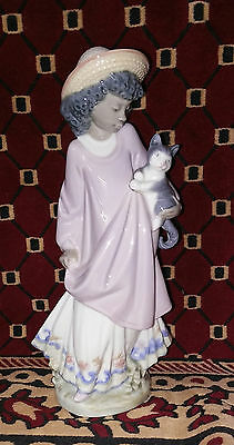 Lladro black legacy collection girl with cat retired