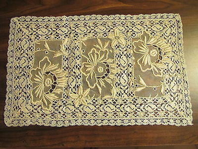 Antique Lace Placemat French Normandy Embroidered Whitework Table DoilyTray Mat