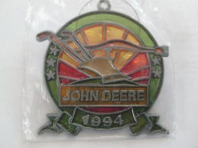 JOHN DEERE 1994 Stained Glass Christmas Ornament Window Hanging Collectible
