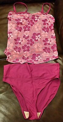 Mothercare maternity swimsuit (top & bottom) - size 10, floral, purple, tummy