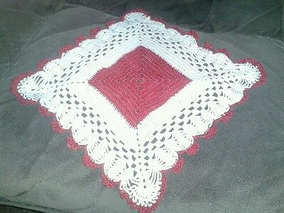 """Vintage 7"""" Square Red and Ecru Hand Crocheted Doiley"""
