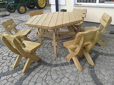 Garden Furniture Patio Set, Table + 6 Chairs Solid Real Wood.