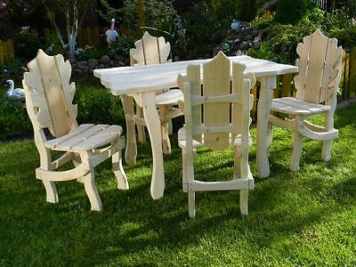 HQ Garden Furniture Patio Set table + 4 chairs, handmade solid wood