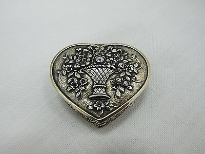 Gilt Sterling Silver Floral Repousse Heart Shaped Pill Box Made in Germany