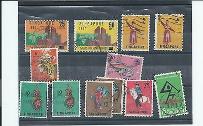 Singapore stamps. used lot from 1967, 1968 & 1969 - see desc (T931)