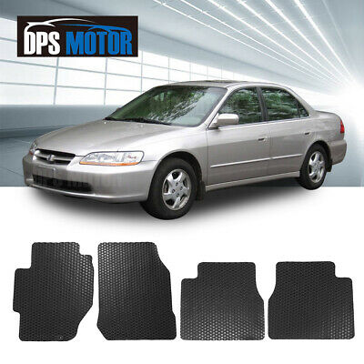 All Weather Black/Beige Rubber Floor Mats Front Rear For 98-02 Honda Accord 4D
