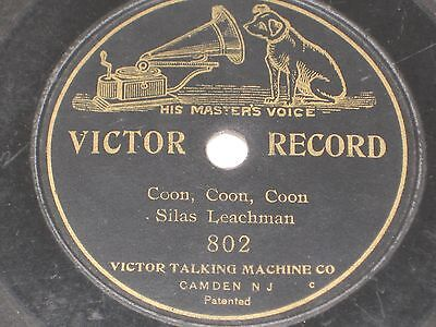 """VERY RARE 1901 Gramophone Victor Records # 802 Silas Leachman Coon,Coon,Coon 7"""""""
