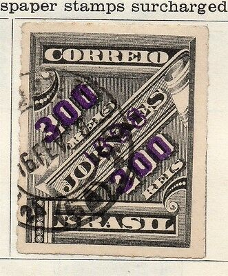Brazil 1898 Early Issue Fine Used 300r. Surcharged 113223